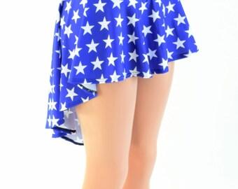 Blue and White Star Super Hero Patriotic Independence Hi-Lo Mini Skirt Rave Festival Skirt 154028