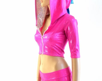Neon Pink Holo Half Sleeve Zippered Hoodie & Midrise Shorts Set with Silver on White Shattered Glass Hood Liner and Peacock Spikes - 154077