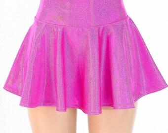 Neon Pink Holographic Metallic Circle Cut Mini Skirt Rave Clubwear EDM  -150200