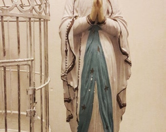 """Lovely Signed French Vintage 'Our Lady of Lourdes' Chalware Statue - 14"""" Tall"""