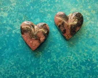 Pink and Black Rhodocrosite Heart Pair with Silver flecks/ backed/