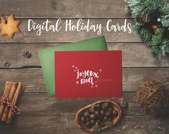 CHRISTMAS CARDS DIGITAL // Joyeux Noël  en Français // Simple holiday Design //  5x7 // 3 Colours Colors // Instant Download