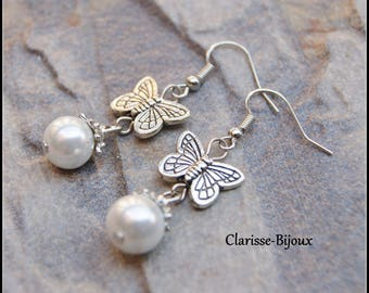Pearl Earrings, Butterfly Earrings, Silver Earrings