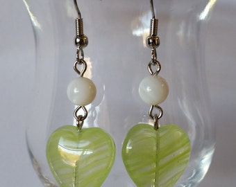 Green Swirl Heart Earrings