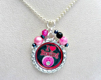 FREE SHIPPING, Bowling Necklace, Bowling Jewelry, Bowling Accessories, Gift for Girls, Bowling Gift, Bowling Party, Girls Jewelry, Bowling