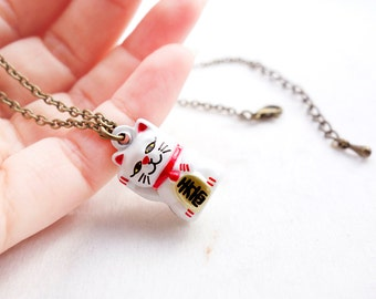 Fortune Cat Bell Necklace/Pendant with antique gold chain, Japanese Maneki Neko Necklace, Lucky cat with antique bronze chain ding dong