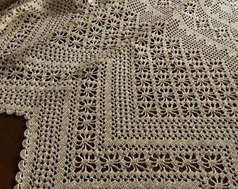 """Linen Curtain with Handmade Crochet Lace Trim """"Maddalena"""" (98.4 x 101.5 inches)"""