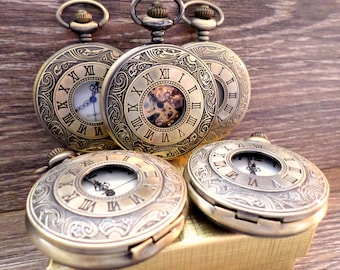Pocket Watch Set of 4 Personalized Mixed Antique Bronze Gold with Watch Chains Groomsmen Gift Wedding Party Gift Ships to US/Canada BRRMMX