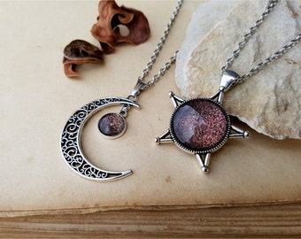 2 Star and Moon Necklaces, best friends gift idea, best friends jewelry, best friend necklaces, Star necklace, moon necklace, Mars Necklace