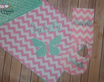 Butterfly Set - Personalized Baby Minky Butterfly Blanket and Chevron Bib & Burp Cloth