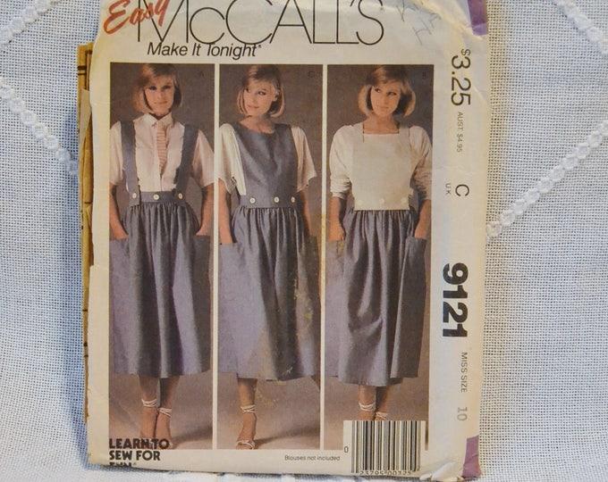 Vintage McCalls 9121 Sewing Pattern Crafts Misses Skirt Straps Bibs Size 10  DIY Sewing Crafts PanchosPorch