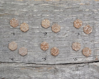 Hexagonal Raw-Cut Druse Quartz Stud Earrings, with Sterling Silver posts - Available in White and Champagne