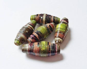 Five Hand Made Paper Beads Olive Green Brown Earth Tones Chunky Shimmering Designer Jewellery Making Supplies Statement Beads