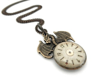 Rustic Dragon - Mythical Dragon Necklace - Halloween Dragon Pendant - Dragon Clockworks Pendant - Winged Dragon - Winged Serpent Pendant