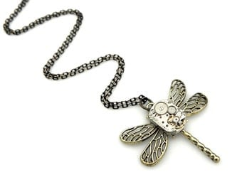 Rustic Steampunk Dragonfly Pendant  -  Clockwork Dragonfly Necklace - Vintage Watch Insect Pendant