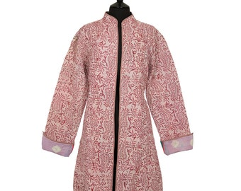 KANTHA JACKET - X Large - Long style - Size 16/18 - Burgundy on pink. Reverse coral and green.