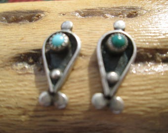 Turquoise and Sterling Petit Point Post Earrings