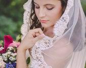 juliet cap veil, bohemian veil, lace veil, lace wedding veil, lace bridal veil, lace edge veil, juliet veil, lace juliet cap veil - CARINE