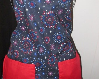 Fireworks apron red white and blue aprons Americana aprons Fireworks aprons Patriotic aprons Adult aprons size medium