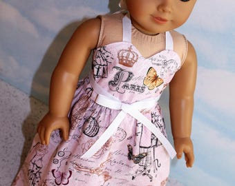 18 Inch Doll (like American Girl) Pink Paris Print Wrap Around Halter Sundress with Sweetheart Neckline