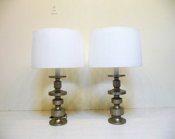 Pair of Laurel Lamps Mid Century Brushed Steel Table Lamps