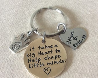Teacher Appreciation Handstamped mixed metal keychain, Bronze and stainless steel personalized graduation items