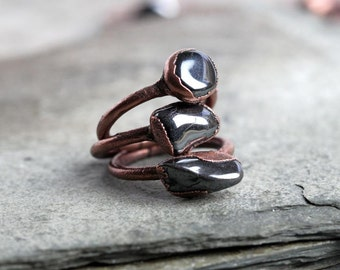 Hematite Ring Electroformed Copper Ring Mixed Metal Jewelry Silver Grey Ring Rustic Gemstone Metallic Stone Chunky Ring