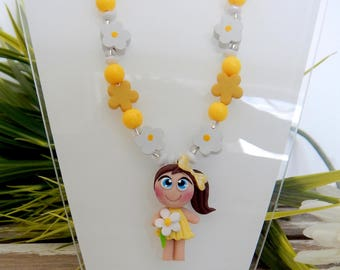 Necklace girl and flower girl fimo necklace fimo necklace girl, child necklace, flower girl, girl, child jewelry, fimo flowers gift