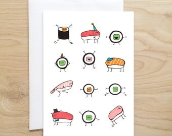 SALE - Sushi Card (blank cards - funny cards - cute cards - food cards - foodie gift - greeting cards - funny greeting cards - blank greetin