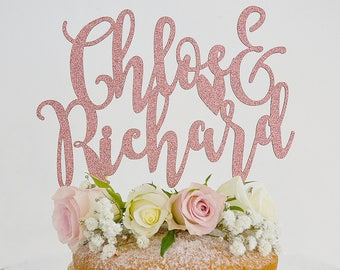 Modern Calligraphy Personalised Paper Wedding Cake Topper