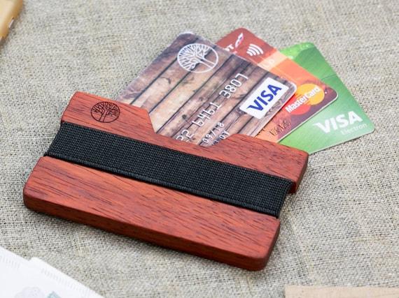 NEW! African Padauk wood wallet 3-5 card, black color strap / Best for boyfriend gift / Slim & Light wallet / Mini Mens wallet / + Engraving