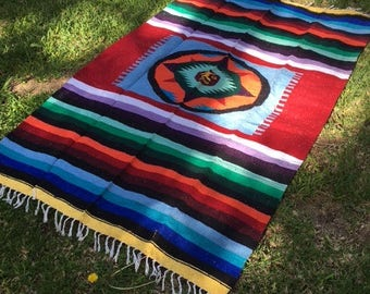 Mexican Blanket,Indian blanket,Fringed, Sun design ,red,blue,green,Lavender,yellow,purple, 80'' x 50''