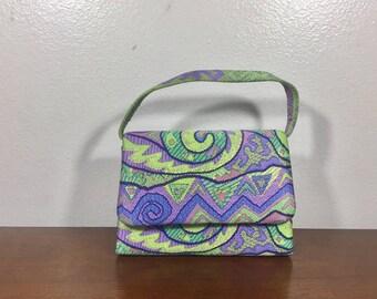 Small Satin Purse, Green, Purple, Formal, Handbag, Made in Italy