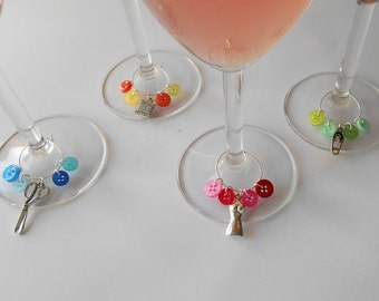 Sewing Wine Charms, Crafty Party Wear, Hostess Gift, Housewarming Present, Dressmaker Token, Gifts for New Homers, Thank You, Celebrations
