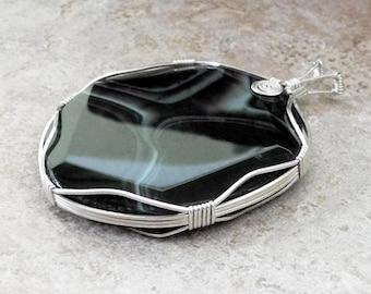 Sterling Silver Wrapped Black Agate Pendant - Agate Pendant - Large Agate Pendant - Black Agate - Black Pendant - Roca Jewelry Designs