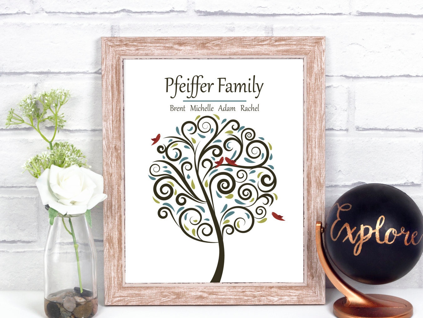 Modern family tree print personalized family tree art print for Modern family printer