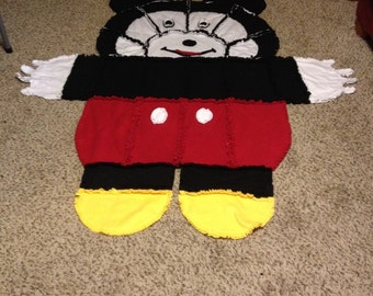 Mickey Mouse Rag Quilt/wall Hanging/rug