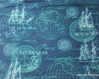 Flannel Fabric - Navy Sailing Mix - 1 yard - 100% Cotton Flannel