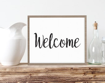Welcome Printable | Instant Download Welcome Sign | Living Decor |