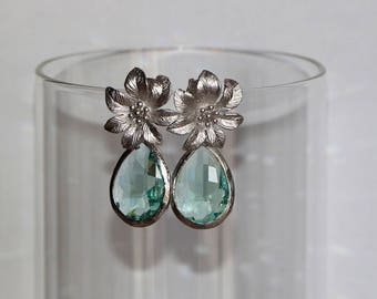 Free Shipping. Silver Polished earrings with Crystal Faceted Erinite Green Pendant. Hand made