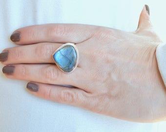 Drop of Blue Labradorite Ring // Labradorite Jewelry // Sterling Silver // Village Silversmith