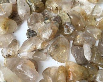 1kg Rutile Quartz Tumbles - Golden Rutilated Quartz Tumbled Stones Bulk - Wholesale Gold Rutile Quartz Mineral Gemstone