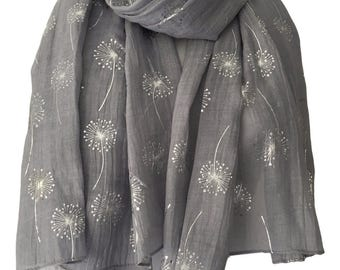 Grey Scarf with Silver Floral Print, Ladies Gray Flower Pattern Wrap Shawl, flowers Scarf, Dandelion Clocks Print