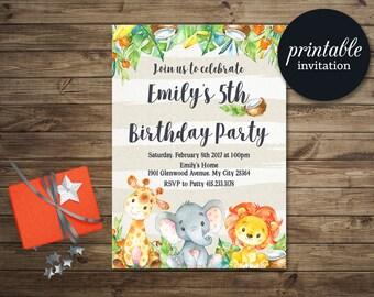 Jungle Birthday Invitation Boy, Safari Birthday Invitation Girl, Animals Birthday Party Invite Printable, First Birthday Invitation Kids