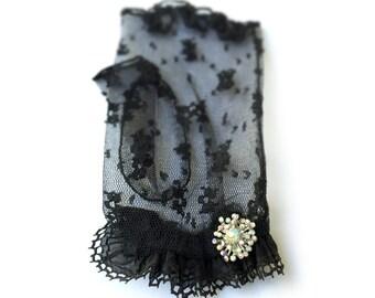 Lace Fingerless Gloves, Black Lace Gloves, Black Retro Gloves, Sheer Gloves, Fingerless Gloves, Fashion Gloves, Gothic, Victorian, Lolita
