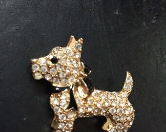 Scotty Dog Brooch, Crystal Dog Brooch, Dog Brooch, Brooch by Monet