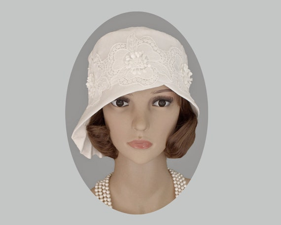 Retro Vintage Style Hats Off-white cloche hat with pleated brim 1920s hat Great Gatsby hat 1920s bridal hat 1920s wedding Charleston hat white cloche 20s hat $120.00 AT vintagedancer.com