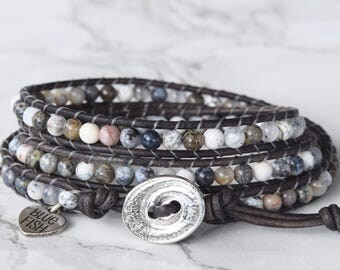 Grey Jasper Wrap Bracelet, Beaded Wrap Bracelet, Boho Wrap Bracelet, Bracelet Wrap, Leather Wrapped Jasper Stone Bracelet