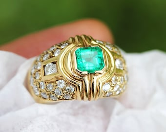 Estate 1.75ctw Emerald & Diamond Italian Cocktail Ring in 14kt Yellow Gold