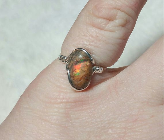 Cantara Opal Ring   Sterling Silver Ring Sz 6.75    Boulder Opal Ring   Matrix Opal Ring   Fire Opal Ring   Opal Jewelry   October Birthday